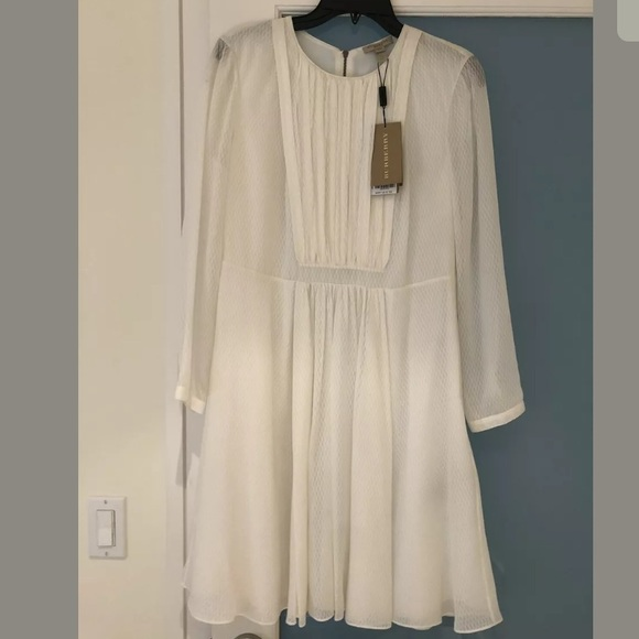 Burberry Dresses & Skirts - NWT Burberry White Silk Dotted 3/4 Sleeved Dress